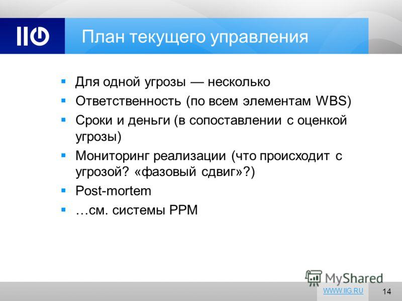 14 WWW.IIG.RU План текущего управления Для одной угрозы несколько Ответственность (по всем элементам WBS) Сроки и деньги (в сопоставлении с оценкой угрозы) Мониторинг реализации (что происходит с угрозой? «фазовый сдвиг»?) Post-mortem …см. системы PP