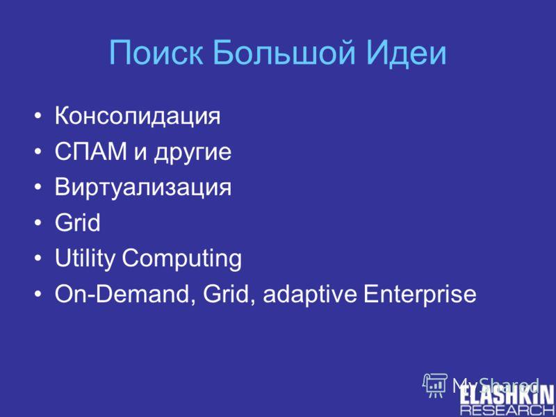 Поиск Большой Идеи Консолидация СПАМ и другие Виртуализация Grid Utility Computing On-Demand, Grid, adaptive Enterprise
