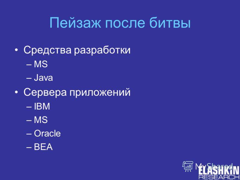 Пейзаж после битвы Средства разработки –MS –Java Сервера приложений –IBM –MS –Oracle –BEA