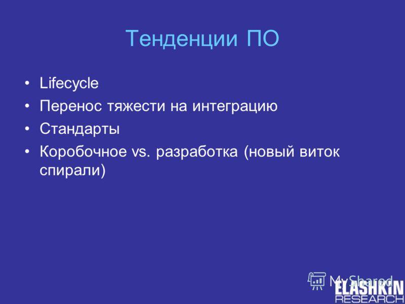 Тенденции ПО Lifecycle Перенос тяжести на интеграцию Стандарты Коробочное vs. разработка (новый виток спирали)