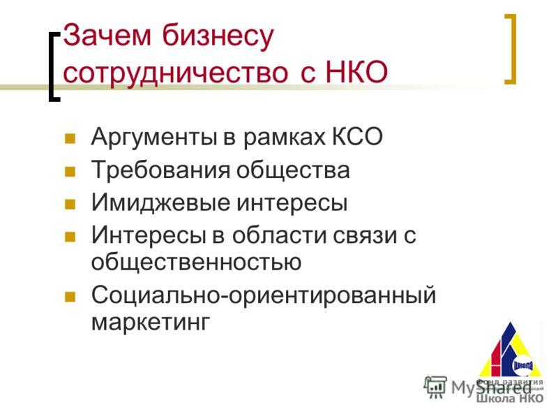 Зачем бизнесу сотрудничество с НКО Аргументы в рамках КСО Требования общества Имиджевые интересы Интересы в области связи с общественностью Социально-ориентированный маркетинг