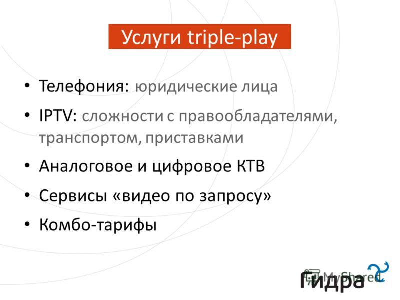Услуги triple-play Телефония: юридические лица IPTV: сложности с правообладателями, транспортом, приставками Аналоговое и цифровое КТВ Сервисы «видео по запросу» Комбо-тарифы