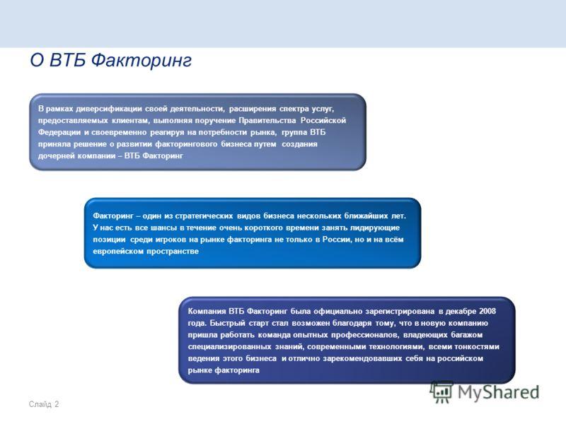 Слайд 2 О ВТБ Факторинг В рамках диверсификации своей деятельности, расширения спектра услуг, предоставляемых клиентам, выполняя поручение Правительства Российской Федерации и своевременно реагируя на потребности рынка, группа ВТБ приняла решение о р