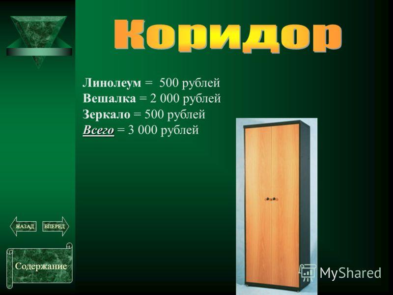 Линолеум = 500 рублей Вешалка = 2 000 рублей Зеркало = 500 рублей Всего Всего = 3 000 рублей Содержание ВПЕРЕДНАЗАД