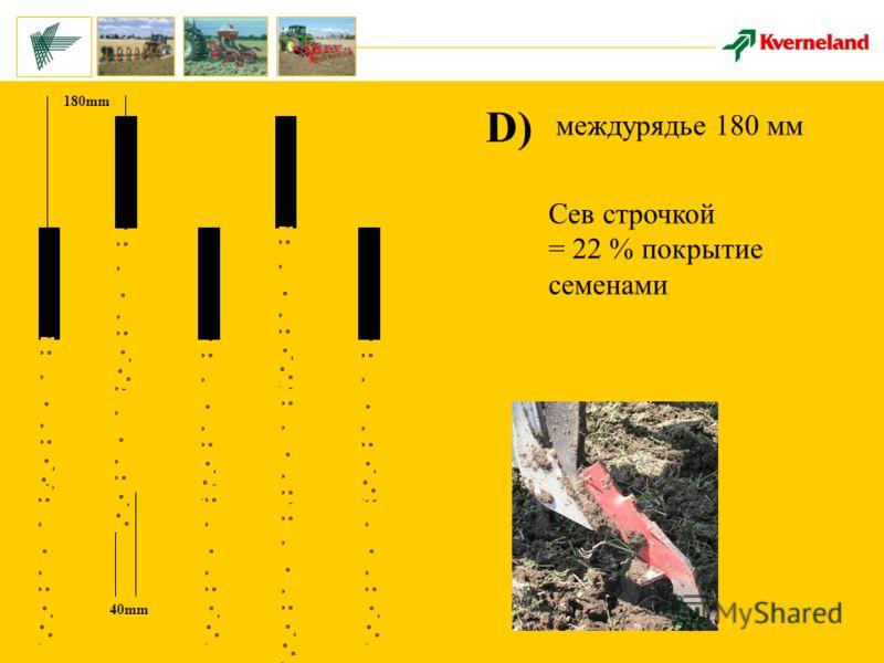 180mm 40mm D) междурядье 180 мм Сев строчкой = 22 % покрытие семенами