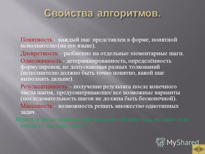Понятность – каждый шаг представлен в форме, понятной исполнителю ( на его языке ). Дискретность – разбиение на отдельные элементарные шаги. Однозначность - детерминированность, определённость формулировок, не допускающая разных толкований ( исполнит
