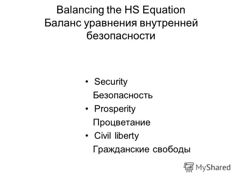 Balancing the HS Equation Баланс уравнения внутренней безопасности Security Безопасность Prosperity Процветание Civil liberty Гражданские свободы