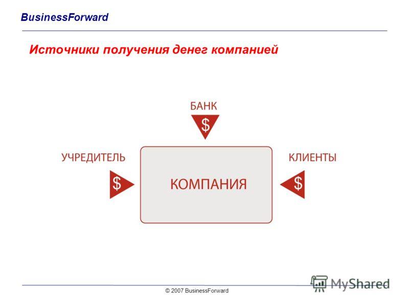 BusinessForward Источники получения денег компанией © 2007 BusinessForward
