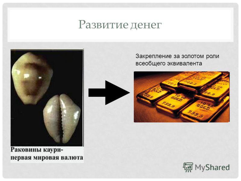 Развитие денег Закрепление за золотом роли всеобщего эквивалента