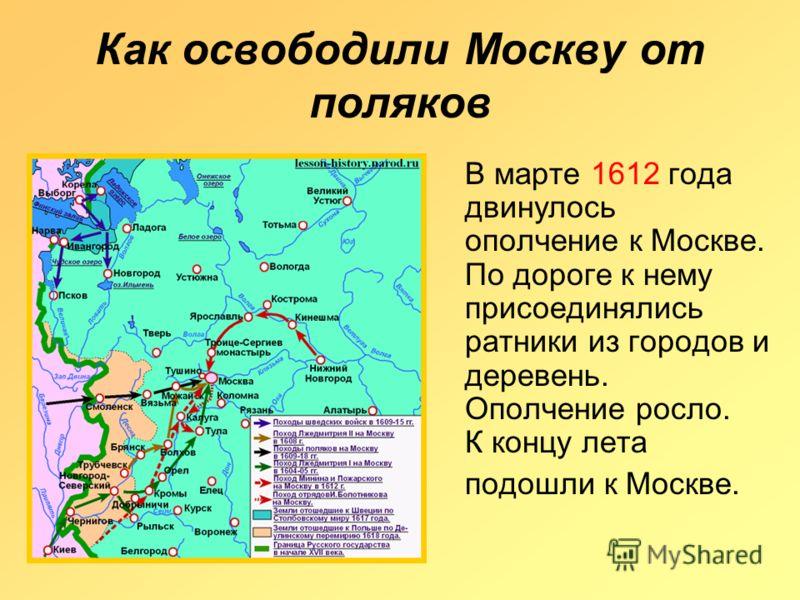 Как освободили Москву от поляков В марте 1612 года двинулось ополчение к Москве. По дороге к нему присоединялись ратники из городов и деревень. Ополчение росло. К концу лета подошли к Москве.