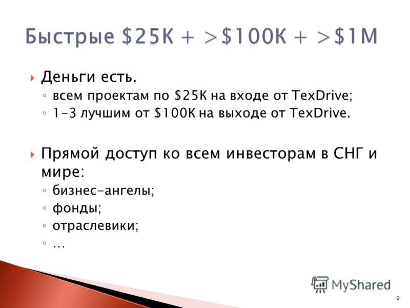 Деньги есть. всем проектам по $25К на входе от TexDrive; 1-3 лучшим от $100К на выходе от TexDrive. Прямой доступ ко всем инвесторам в СНГ и мире: бизнес-ангелы; фонды; отраслевики; … 9