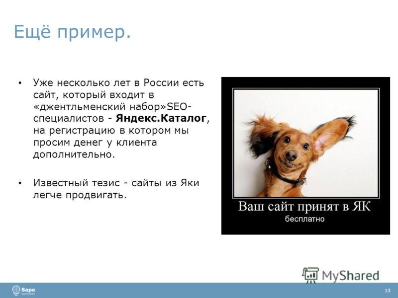 Ещё пример. 13 Уже несколько лет в России есть сайт, который входит в «джентльменский набор»SEO- специалистов - Яндекс.Каталог, на регистрацию в котором мы просим денег у клиента дополнительно. Известный тезис - сайты из Яки легче продвигать.