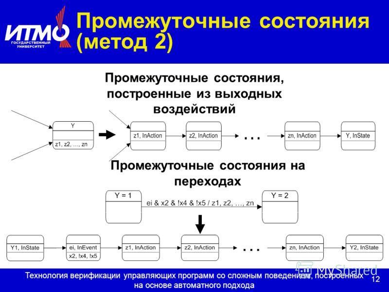 12 Технология верификации управляющих программ со сложным поведением, построенных на основе автоматного подхода Промежуточные состояния (метод 2) Промежуточные состояния, построенные из выходных воздействий Промежуточные состояния на переходах