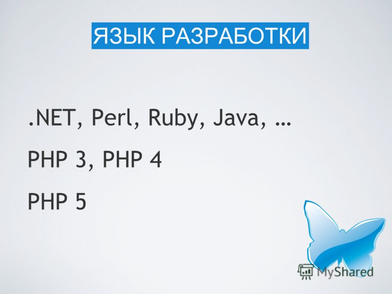 .NET, Perl, Ruby, Java, … PHP 3, PHP 4 PHP 5 ЯЗЫК РАЗРАБОТКИ