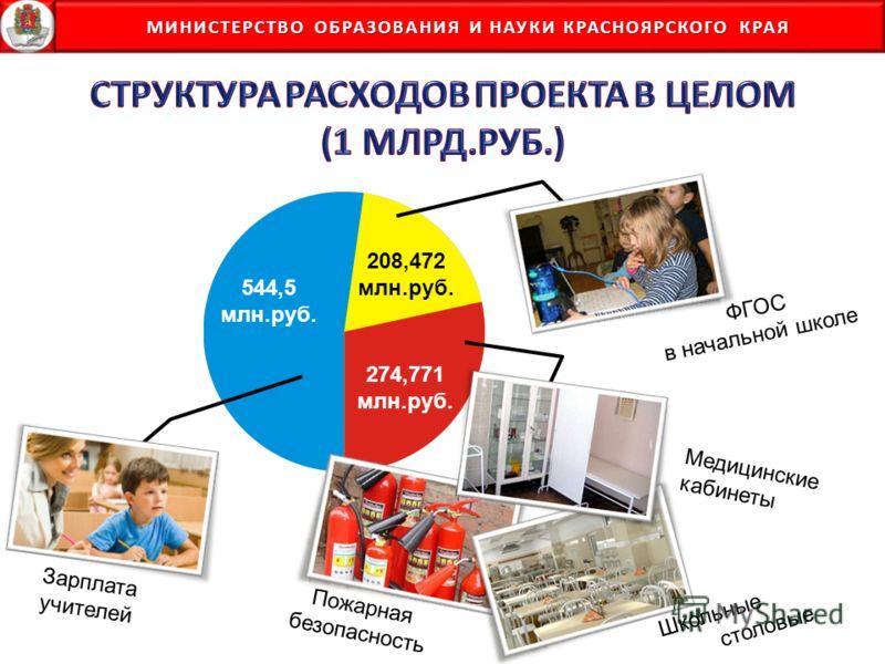 МИНИСТЕРСТВО ОБРАЗОВАНИЯ И НАУКИ КРАСНОЯРСКОГО КРАЯ МИНИСТЕРСТВО ОБРАЗОВАНИЯ И НАУКИ КРАСНОЯРСКОГО КРАЯ 544,5 млн.руб. Зарплата учителей ФГОС в начальной школе Пожарная безопасность Медицинские кабинеты Школьные столовые 274,771 млн.руб. 208,472 млн.