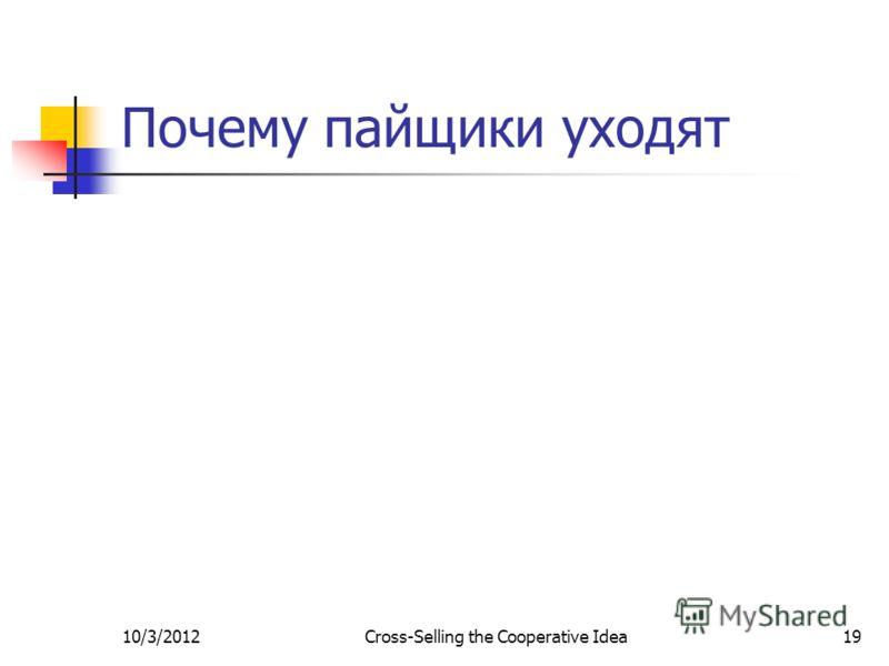 7/29/2012Cross-Selling the Cooperative Idea19 Почему пайщики уходят