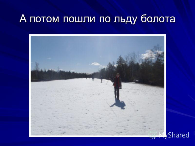 А потом пошли по льду болота