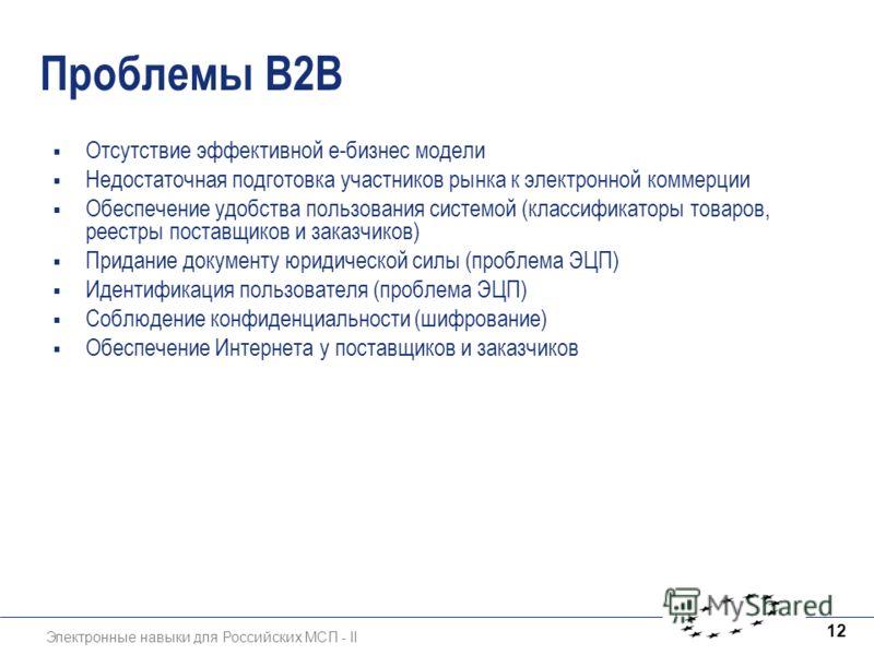 Электронные навыки для Российских МСП - II 12 Проблемы B2B Отсутствие эффективной е-бизнес модели Недостаточная подготовка участников рынка к электронной коммерции Обеспечение удобства пользования системой (классификаторы товаров, реестры поставщиков