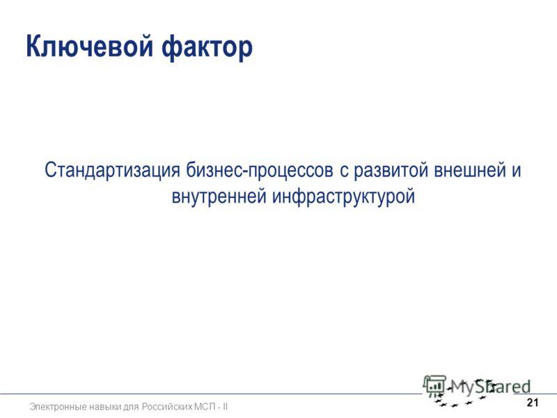 Электронные навыки для Российских МСП - II 21 Ключевой фактор Стандартизация бизнес-процессов с развитой внешней и внутренней инфраструктурой