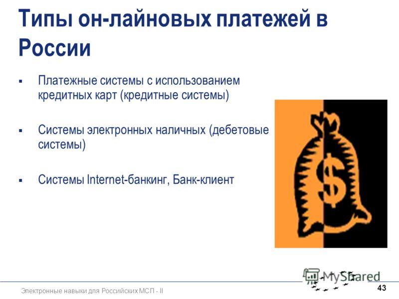 Электронные навыки для Российских МСП - II 43 Типы он-лайновых платежей в России Платежные системы с использованием кредитных карт (кредитные системы) Системы электронных наличных (дебетовые системы) Системы lnternet-банкинг, Банк-клиент