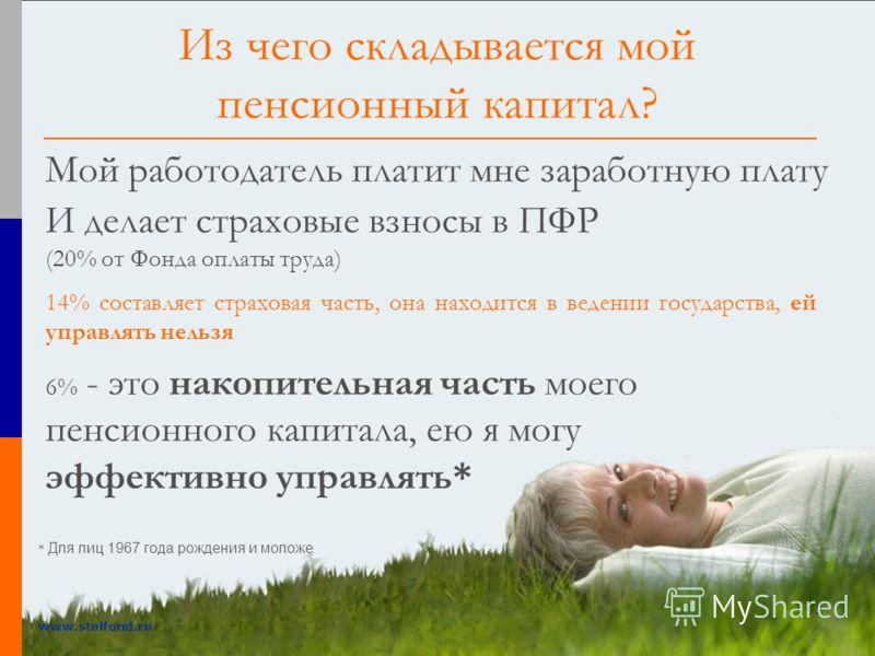 2 www.stalfond.ru Из чего складывается мой пенсионный капитал? Мой работодатель платит мне заработную плату И делает страховые взносы в ПФР (20% от Фонда оплаты труда) 14% составляет страховая часть, она находится в ведении государства, ей управлять