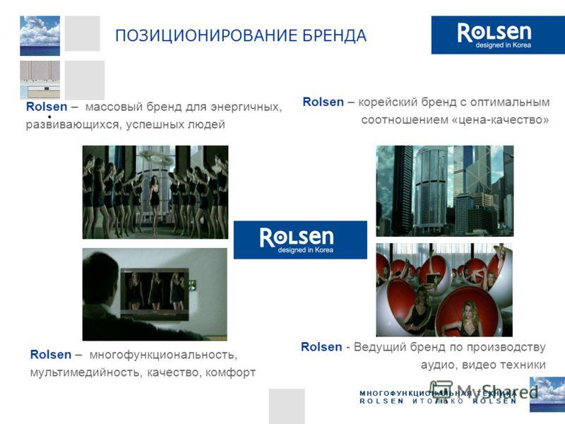 МНОГОФУНКЦИОНАЛЬНАЯ ТЕХНИКА ROLSEN ИТОЛЬКО ROLSEN Rolsen – массовый бренд для энергичных, развивающихся, успешных людей Rolsen – корейский бренд с оптимальным соотношением «цена-качество» Rolsen - Ведущий бренд по производству аудио, видео техники Ro