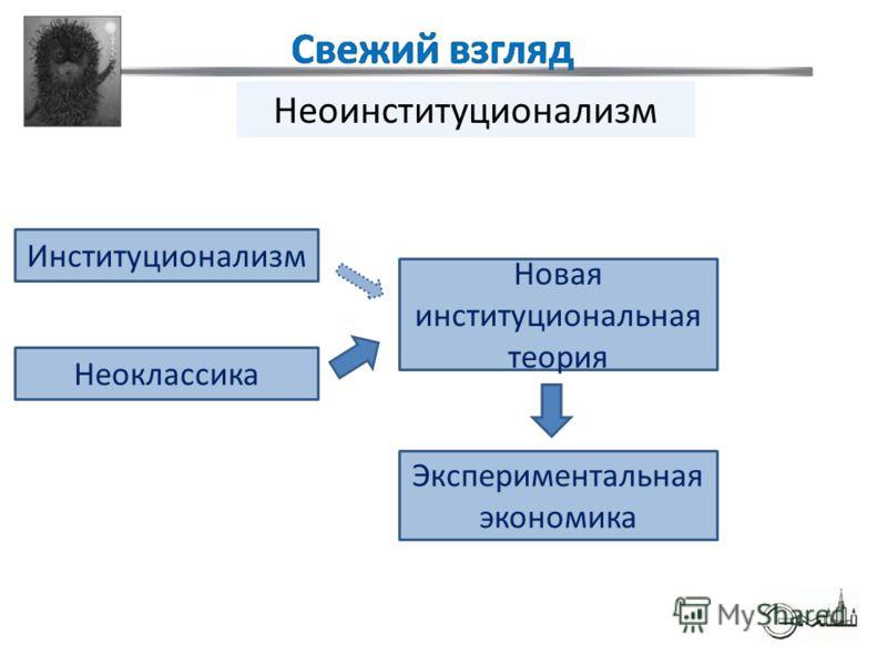 Неоклассика Неоинституционализм Институционализм Новая институциональная теория Экспериментальная экономика