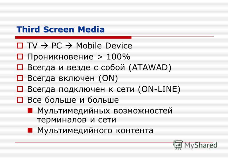 3 Third Screen Media TV PC Mobile Device Проникновение > 100% Всегда и везде с собой (ATAWAD) Всегда включен (ON) Всегда подключен к сети (ON-LINE) Все больше и больше Мультимедийных возможностей терминалов и сети Мультимедийного контента