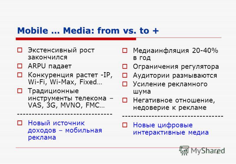 4 Mobile … Media: from vs. to + Экстенсивный рост закончился ARPU падает Конкуренция растет -IP, Wi-Fi, Wi-Max, Fixed… Традиционные инструменты телекома – VAS, 3G, MVNO, FMC… -------------------------------- Новый источник доходов – мобильная реклама
