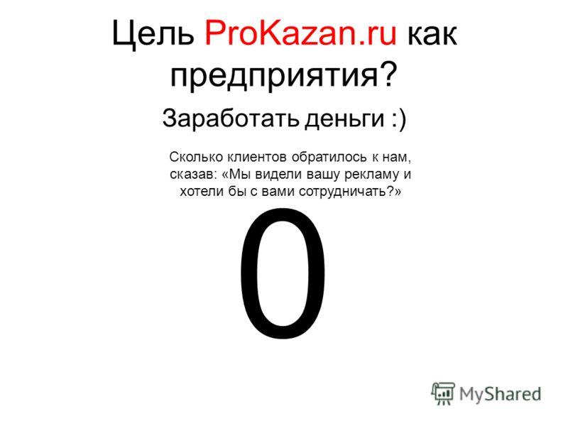Цель ProKazan.ru как предприятия? Заработать деньги :) 0 Сколько клиентов обратилось к нам, сказав: «Мы видели вашу рекламу и хотели бы с вами сотрудничать?»