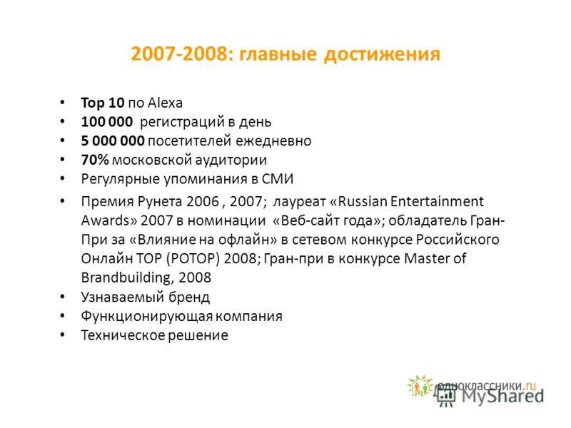 2007-2008: главные достижения Top 10 по Alexa 100 000 регистраций в день 5 000 000 посетителей ежедневно 70% московской аудитории Регулярные упоминания в СМИ Премия Рунета 2006, 2007; лауреат «Russian Entertainment Awards» 2007 в номинации «Веб-сайт