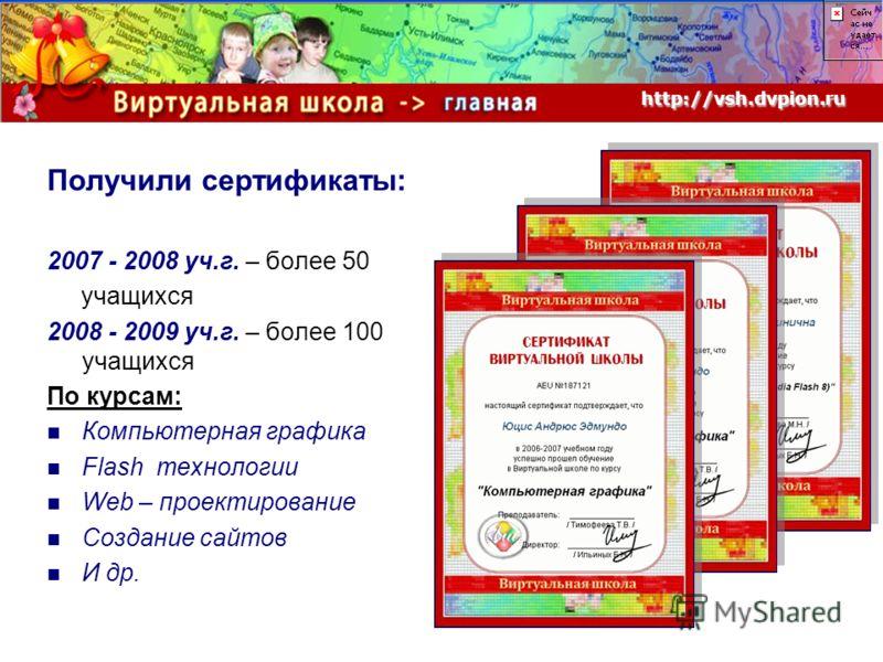 Получили сертификаты: 2007 - 2008 уч.г. – более 50 учащихся 2008 - 2009 уч.г. – более 100 учащихся По курсам: Компьютерная графика Flash технологии Web – проектирование Создание сайтов И др. http://vsh.dvpion.ru http://vsh.dvpion.ru