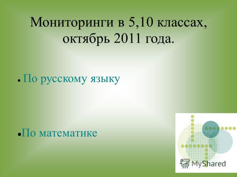 Мониторинги в 5,10 классах, октябрь 2011 года. По русскому языку По математике