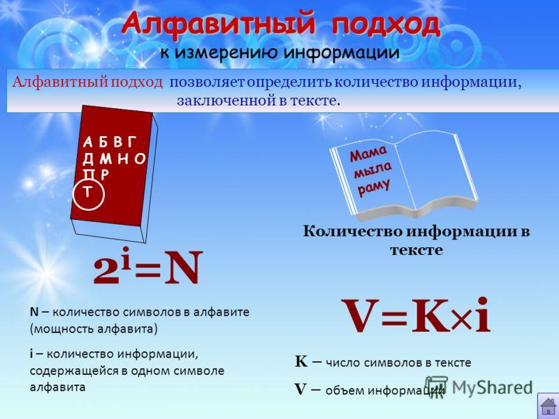 Алфавитный подход Алфавитный подход к измерению информации Алфавитный подход позволяет определить количество информации, заключенной в тексте. А Б В Г Д М Н О П Р Т Мама мыла раму 2 i =N N – количество символов в алфавите (мощность алфавита) i – коли