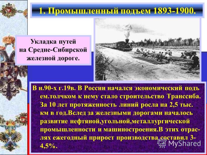 В н.90-х г.19в. В России начался экономический подъ ем.толчком к нему стало строительство Транссиба. За 10 лет протяженность линий росла на 2,5 тыс. км в год.Вслед за железными дорогами началось развитие нефтяной,угольной,металлургической промышленно