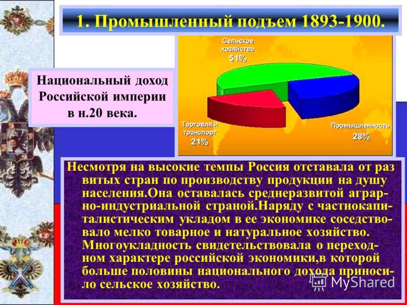 Национальный доход Российской империи в н.20 века. Несмотря на высокие темпы Россия отставала от раз витых стран по производству продукции на душу населения.Она оставалась среднеразвитой аграр- но-индустриальной страной.Наряду с частнокапи- талистиче