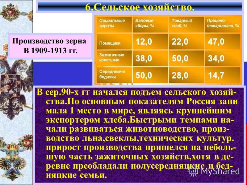 В сер.90-х гг начался подъем сельского хозяй- ства.По основным показателям Россия зани мала 1 место в мире, являясь крупнейшим экспортером хлеба.Быстрыми темпами на- чали развиваться животноводство, произ- водство льна,свеклы,технических культур. при