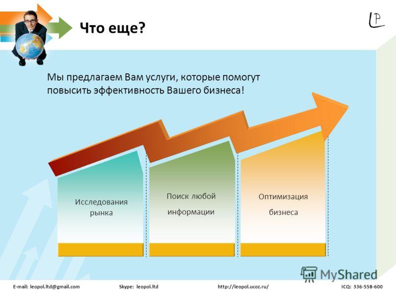 Исследования рынка Поиск любой информации Оптимизация бизнеса Мы предлагаем Вам услуги, которые помогут повысить эффективность Вашего бизнеса! Что еще? E-mail: leopol.ltd@gmail.comSkype: leopol.ltdhttp://leopol.ucoz.ru/ICQ: 336-558-600