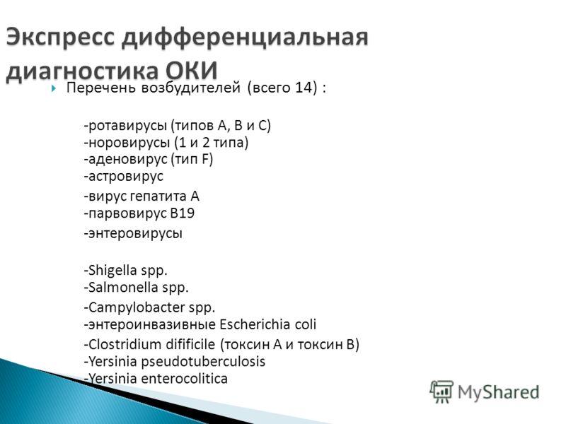 Перечень возбудителей (всего 14) : -ротавирусы (типов А, В и С) -норовирусы (1 и 2 типа) -аденовирус (тип F) -астровирус -вирус гепатита А -парвовирус B19 -энтеровирусы -Shigella spp. -Salmonella spp. -Campylobacter spp. -энтероинвазивные Escherichia