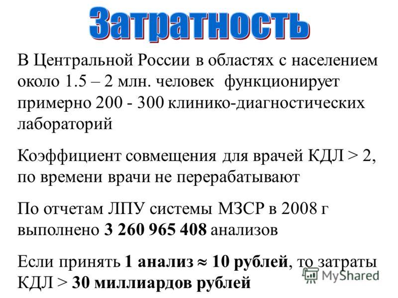 В Центральной России в областях с населением около 1.5 – 2 млн. человек функционирует примерно 200 - 300 клинико-диагностических лабораторий Коэффициент совмещения для врачей КДЛ > 2, по времени врачи не перерабатывают По отчетам ЛПУ системы МЗСР в 2