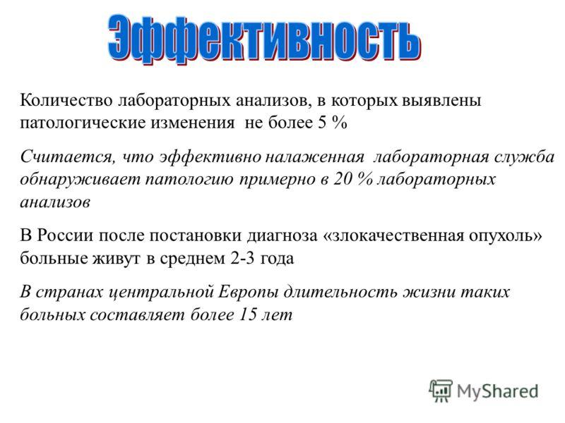Количество лабораторных анализов, в которых выявлены патологические изменения не более 5 % Считается, что эффективно налаженная лабораторная служба обнаруживает патологию примерно в 20 % лабораторных анализов В России после постановки диагноза «злока