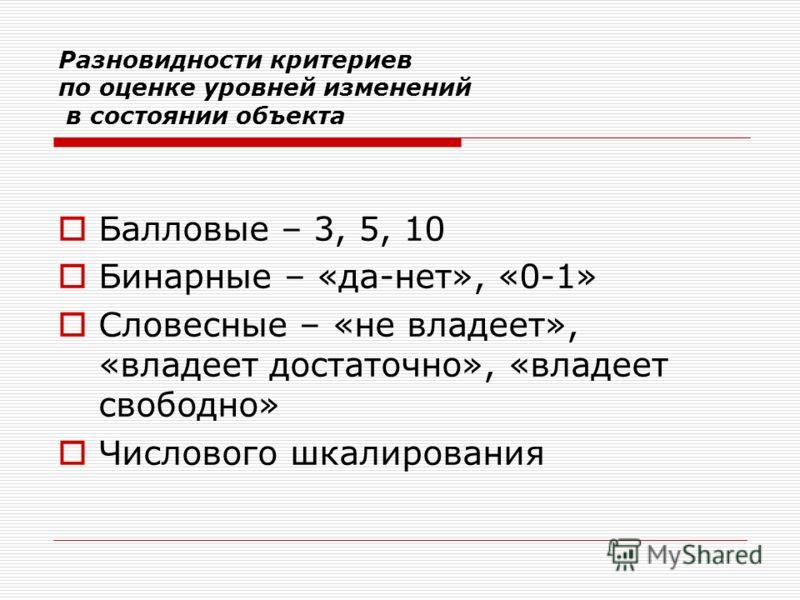 Разновидности критериев по оценке уровней изменений в состоянии объекта Балловые – 3, 5, 10 Бинарные – «да-нет», «0-1» Словесные – «не владеет», «владеет достаточно», «владеет свободно» Числового шкалирования