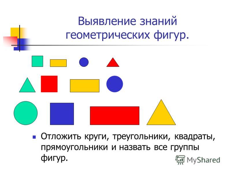 Выявление знаний геометрических фигур. Отложить круги, треугольники, квадраты, прямоугольники и назвать все группы фигур.