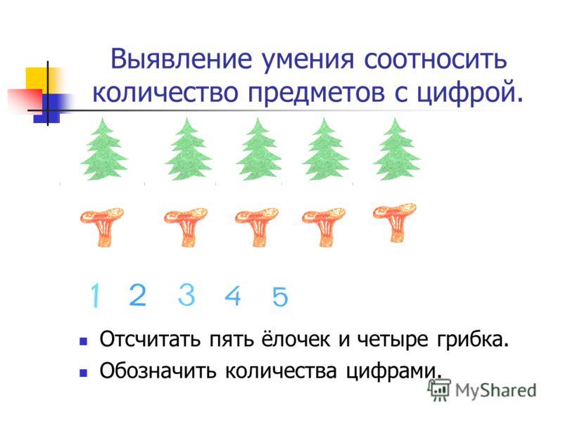 Выявление умения соотносить количество предметов с цифрой. Отсчитать пять ёлочек и четыре грибка. Обозначить количества цифрами.