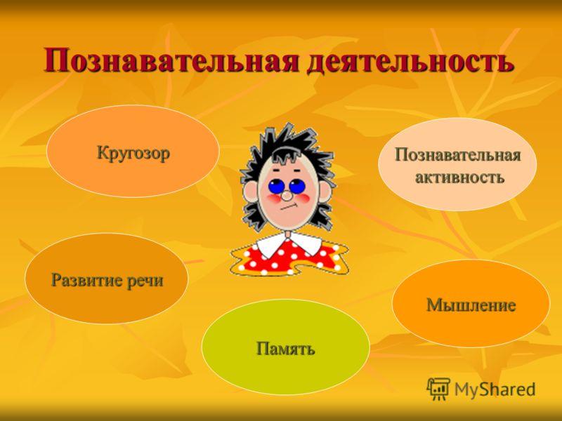 Познавательная деятельность Познавательная активность активность Мышление Память Развитие речи Развитие речи Кругозор