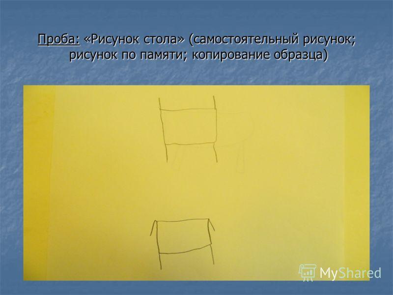 Проба: «Рисунок стола» (самостоятельный рисунок; рисунок по памяти; копирование образца)