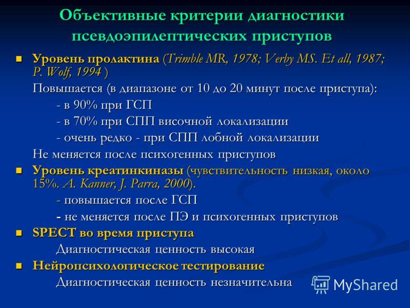 Объективные критерии диагностики псевдоэпилептических приступов Уровень пролактина (Trimble MR, 1978; Verby MS. Et all, 1987; P. Wolf, 1994 ) Уровень пролактина (Trimble MR, 1978; Verby MS. Et all, 1987; P. Wolf, 1994 ) Повышается (в диапазоне от 10