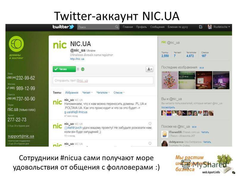 Twitter-аккаунт NIC.UA Cотрудники #nicua сами получают море удовольствия от общения с фолловерами :)