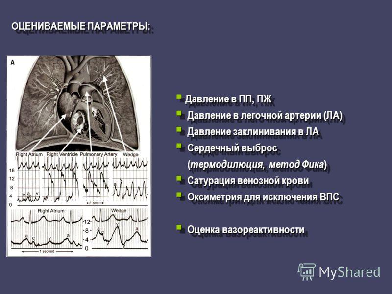 ОЦЕНИВАЕМЫЕ ПАРАМЕТРЫ: Давление в ПП, ПЖ Давление в легочной артерии (ЛА) Давление в легочной артерии (ЛА) Давление заклинивания в ЛА Давление заклинивания в ЛА Сердечный выброс Сердечный выброс ( термодилюция, метод Фика ) ( термодилюция, метод Фика