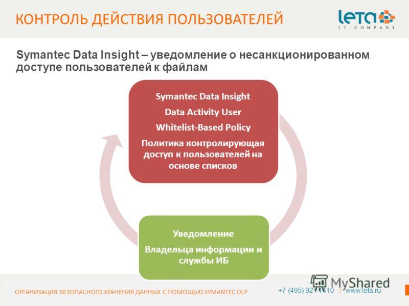 ИНФОРМАЦИЯ О КОМПАНИИ 14+7 (495) 921 1410 / www.leta.ru Symantec Data Insight – уведомление о несанкционированном доступе пользователей к файлам ОРГАНИЗАЦИЯ БЕЗОПАСНОГО ХРАНЕНИЯ ДАННЫХ С ПОМОЩЬЮ SYMANTEC DLP Symantec Data Insight Data Activity User W